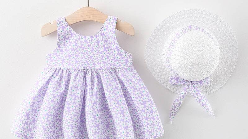 Lilac Floral Summer Dress & Hat Set