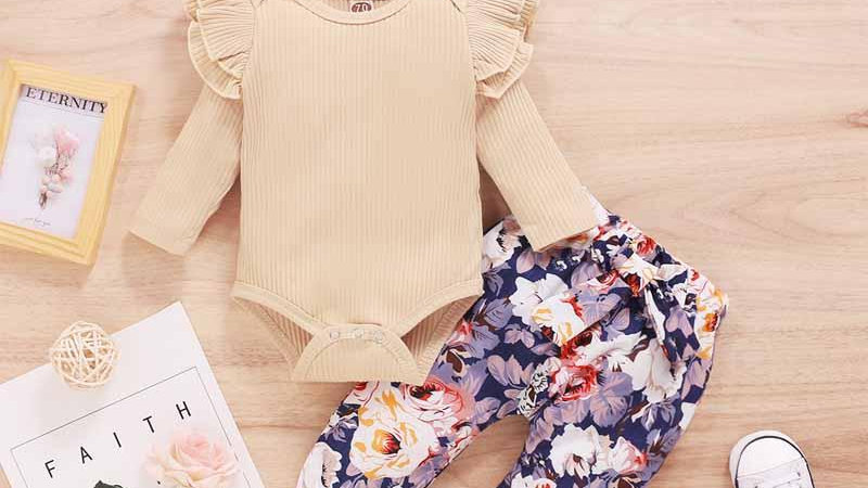 Ruffle Bodysuit & Floral Trousers, Headband Set