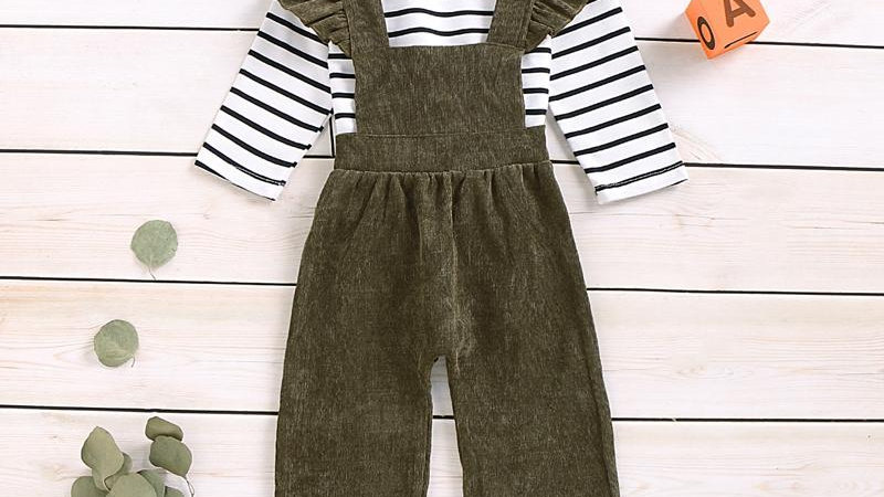 Striped Top & Ruffle Dungarees
