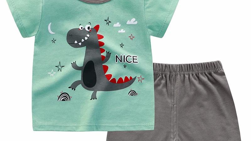 Green Dinosaur Printed T-Shirt & Shorts Set