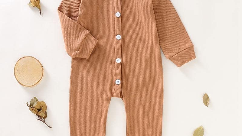 Brown Button Up Romper