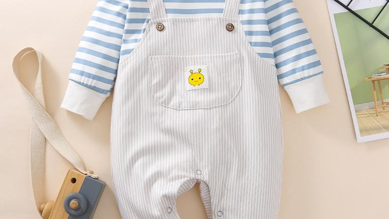 Striped Pattern Dungarees Romper