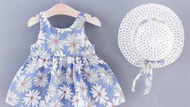 Daisy Summer Blue Dress & Sun Hat