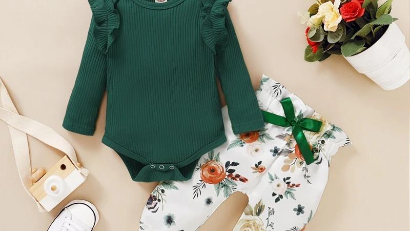Green Ruffle Bodysuit & Floral Trousers, Headband Set
