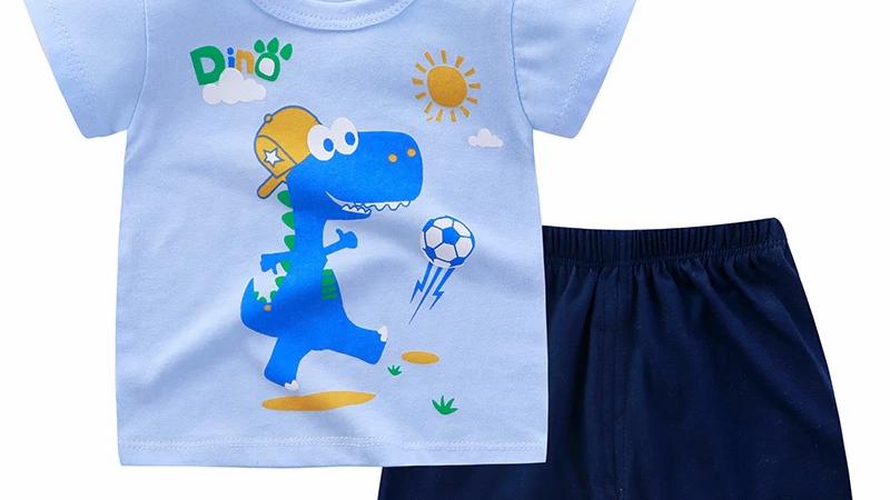 Blue Dinosaur Printed T-Shirt & Shorts Set