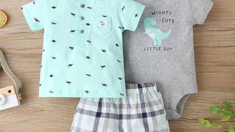 Mighty Cute Dinosaur T-Shirt, Vest & Shorts Set