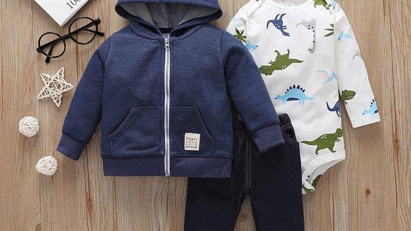 Dinosaur Bodysuit, Hoodie & Soft Jeans Set