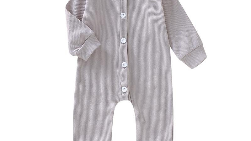 Grey Button Up Romper