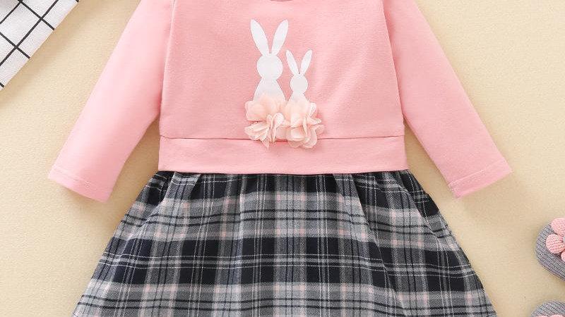 Pretty Bunny Plaid Detail Dress