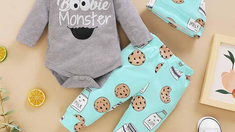 Boobie Monster Printed Three Piece Set