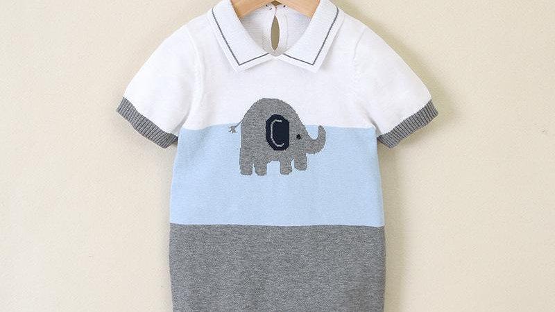 Elephant Knit Button Romper