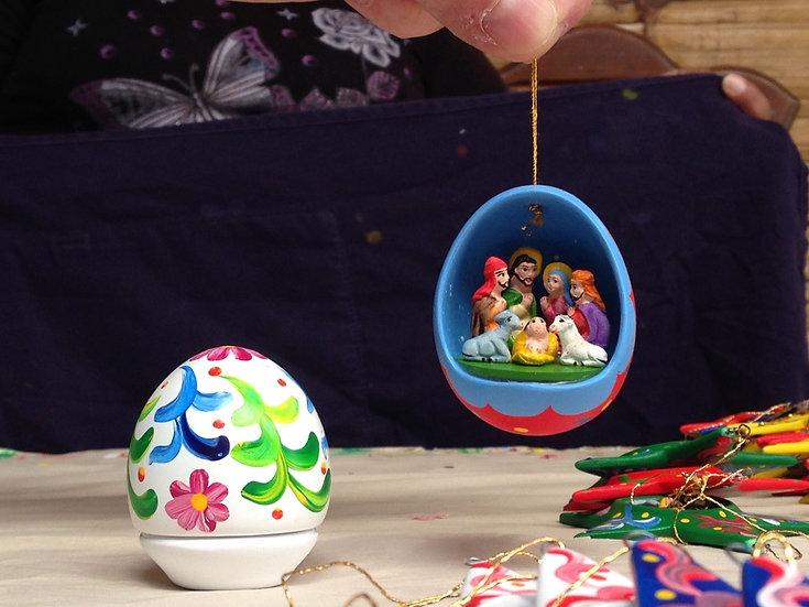 Minipresepe a uovo da appendere