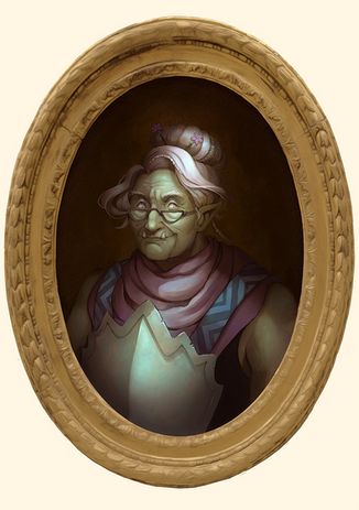 Mama Vio, half-orc adventurer guild leader