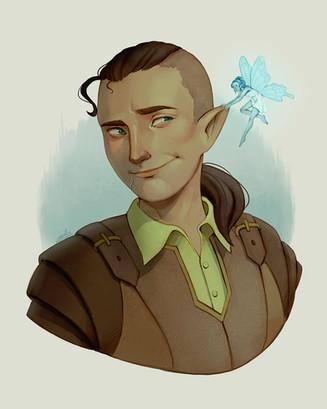 Half elf with pixie companion (Finn & Nerv)
