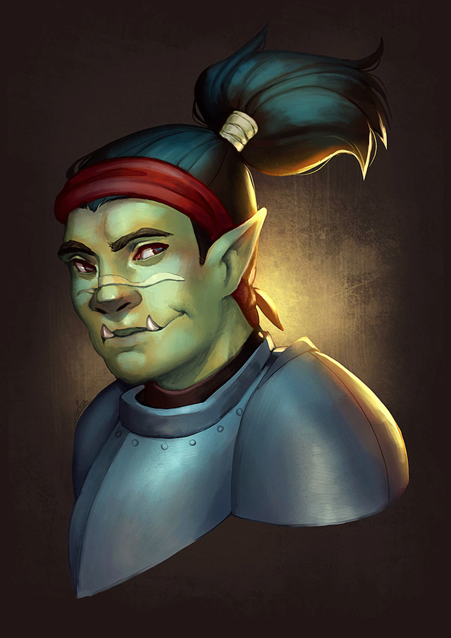 Enzo, half-orc fighter