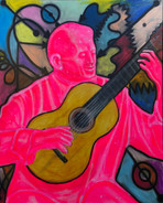 PINK GUITARIST 40F acrylic, oil and oil
