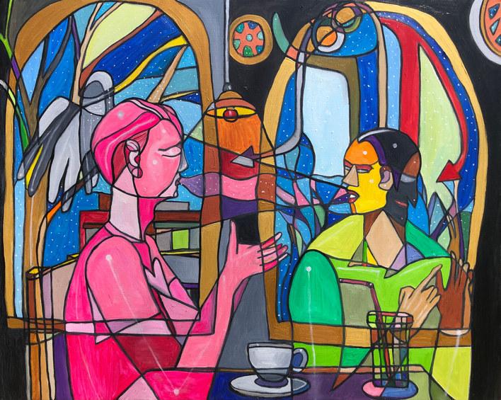 부드러운 진심으로 독이 가득한 거짓말에 대응하는 핑크맨 40F oil on canvas 2020