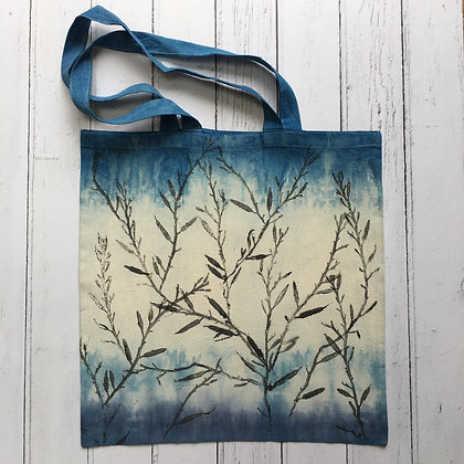 Indigio Dyed Blue Cotton Tote Bag with Seaweed Print