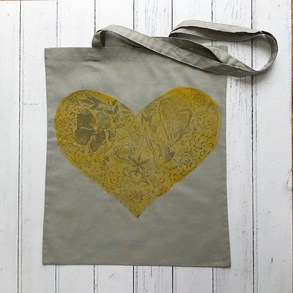 Yellow Floral Love Heart on Soft Grey Cotton Tote Bag