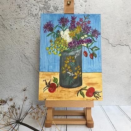 Autumnal Wild Flower Bouquet in Vintage Vase