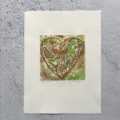 'Floral Love Heart in Red and Green'