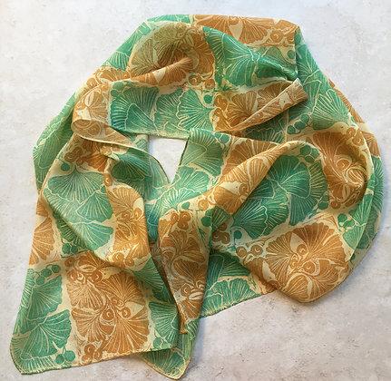 Art Deco Ginkgo Silk Scarf