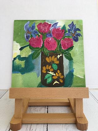 Irises & Roses in a Vintage Vase