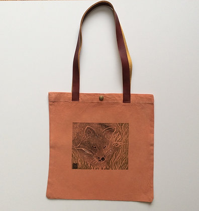 Fox Small Cotton Tote Bag with Faux Leather Straps