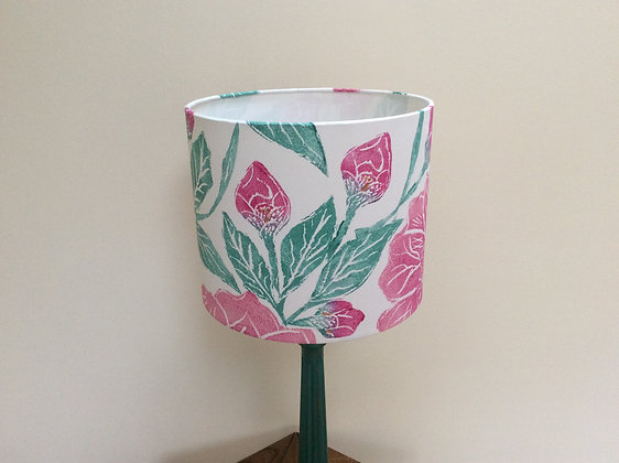 Peony Drum Lampshade with Handpainted Wood Base