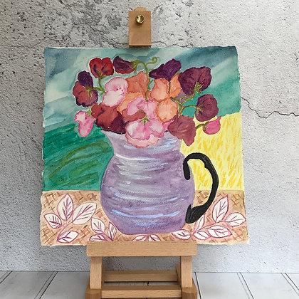 Sweet Peas in Mauve Lusture Vase