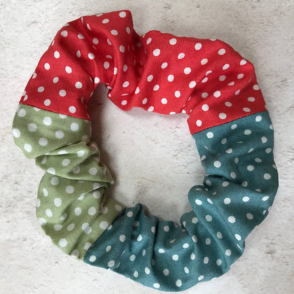 Tricolour Polka Dot Small Scrunchie