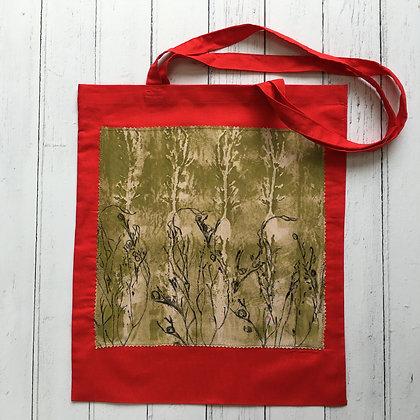 Red Seaweed Print Applique Tote Bag