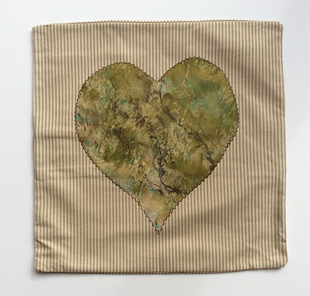 Seaweed Heart & Stripes Cushion Cover