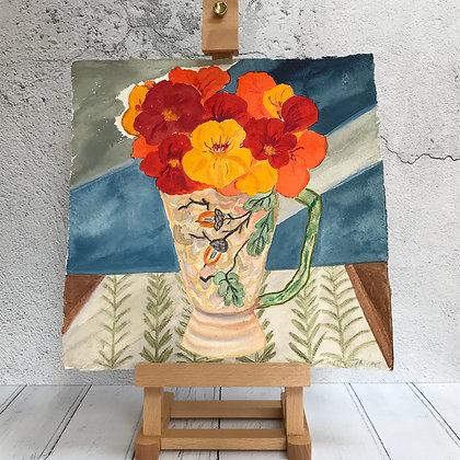 Nasturtiums in Art Deco Vintage Vase