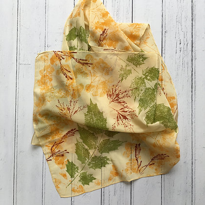 Leaves and Grasses Botanical Print Silk Scarf