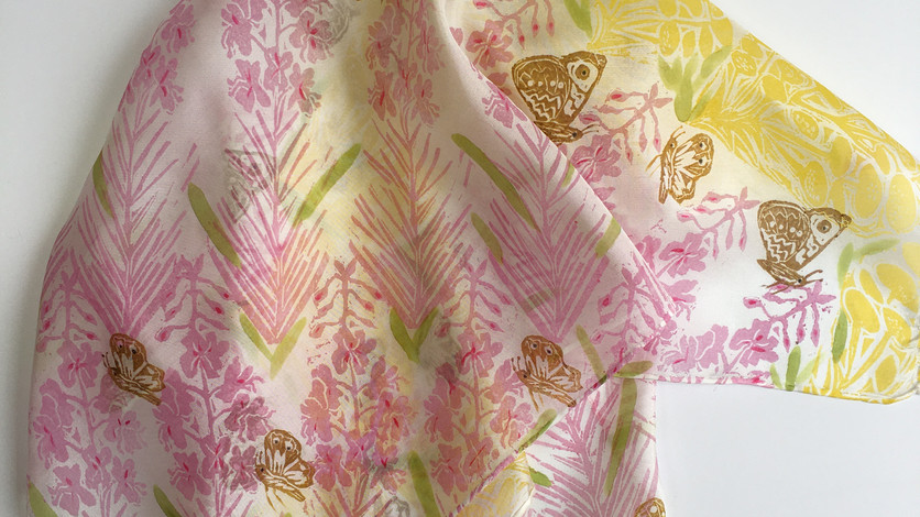 Rose and Tansy Silk Scarf