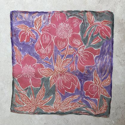 Pink & Mauve Hellebores Silk Square