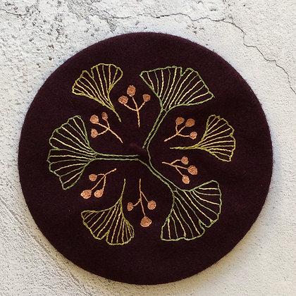 Purple Art Deco Ginko Leaves