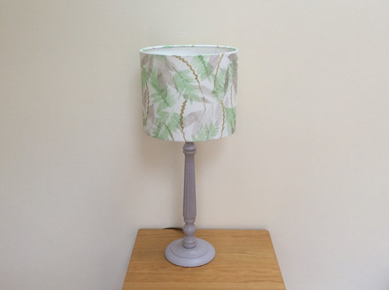 Botanical Leaf Print Lampshade with Wood Base