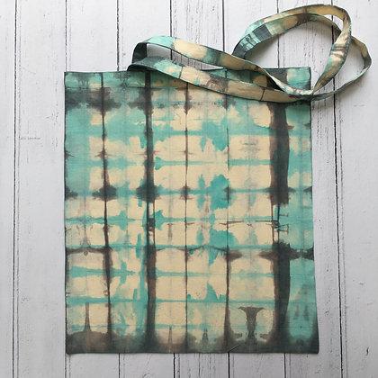 Shibori Dyed Grey and Turquoise Check Tote Bag