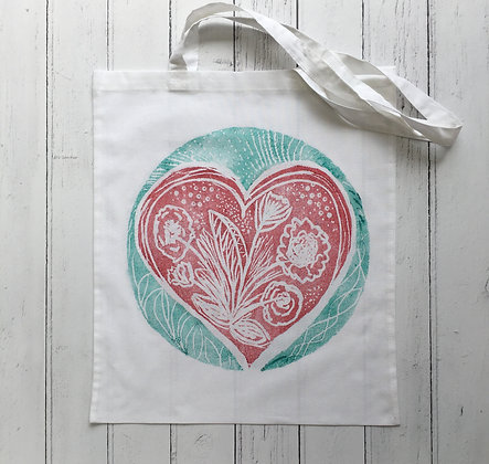 Red Floral Love Heart Cotton Tote Bag