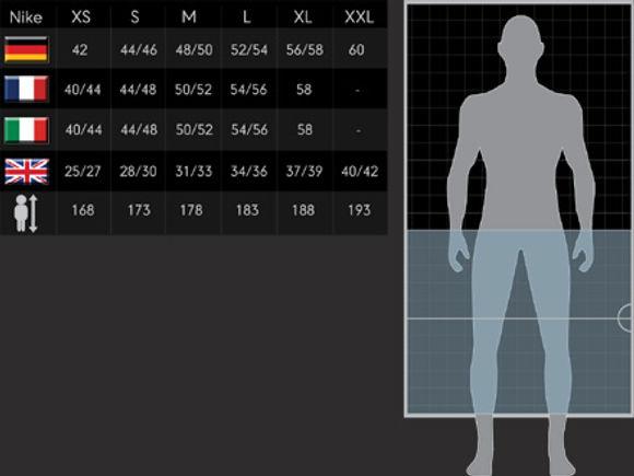 Размерные сетки одежды, обуви и аксессуаров  Nike