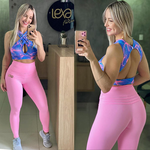 PINK AND BLUE CROPPED TOP & LEGGINGS SET