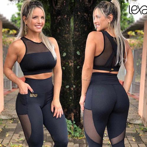 GABRIELA LIVIA BLACK CROP TOP & LEGGINGS SET