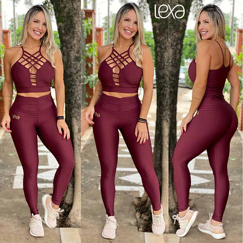 WINE CRISS-CROSS CROPPED TOP AND LEGGINGS SET