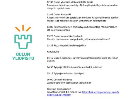 Rakentamistekniikan päivät Oulun yliopistolla 13.9 klo 12:15