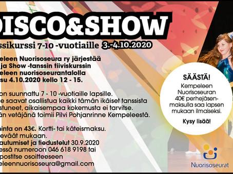 Disco & show -tanssikurssi 7–10 -vuotiaille.