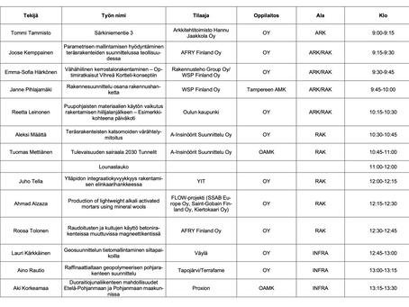 Pohjois-Suomen Rakennusklusteri Oppilaitosten lopputöiden esittely 2021