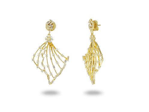 Sparkling Baguette Angel Wings Earrings