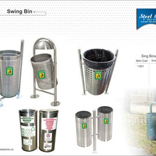 Stainless Steel Twin Mounted Outdoor Dustbins